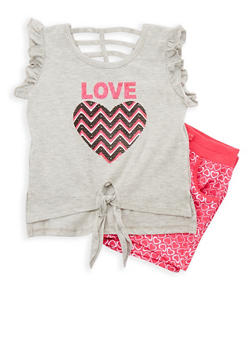 Girls 4-6x Glitter Graphic Top with Printed Shorts Set - 1616054730038