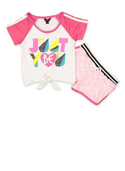 Girls 4-6x Just Be You Top and Shorts Set - 1616054730071