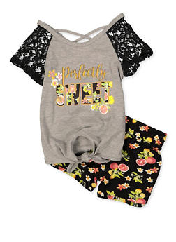 Girls 4-6x Perfectly Sweet Graphic Tee and Shorts Set - 1616054730075