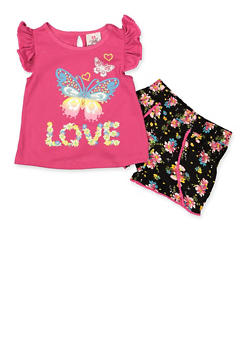Girls 4-6x Butterfly Graphic Tee with Floral Shorts - 1616054730076
