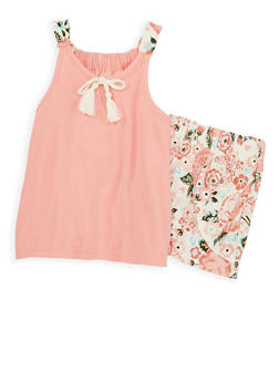 Girls 4-6x Soft Knit Floral Tank Top and Shorts - 1616061950061