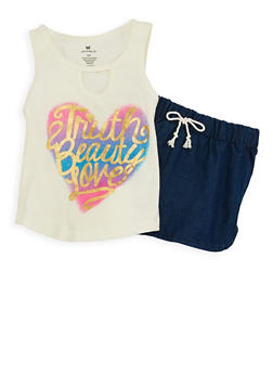 Girls 4-6x Graphic Top and Denim Shorts Set - 1616061950063
