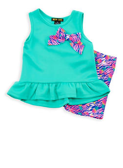 Girls 4-6x Scuba Knit Top with Printed Shorts Set - 1616073960004