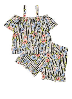 Girls 7-16 Floral Striped Top and Shorts - 1617023130001