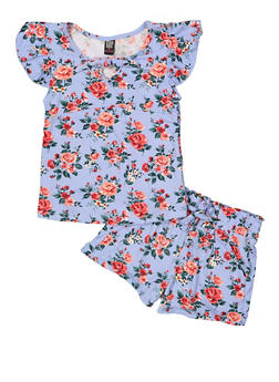 Girls 7-16 Tie Front Floral Tee and Shorts - 1617023130003