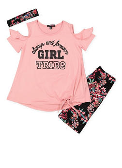 Girls 7-16 Graphic Top with Bermuda Shorts and Headband - 1617038340002