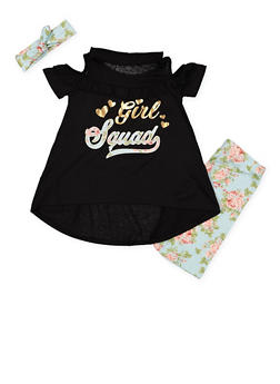Girls 7-16 Graphic Top with Bike Shorts and Headband - 1617038340003