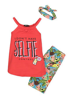 Girls 7-16 Graphic Tank Top with Shorts and Headband - 1617038340004