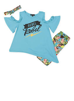 Girls 7-16 Graphic Top with Bermuda Shorts and Headband - 1617038340007