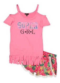 Girls 7-16 Super GRL Cold Shoulder Top with Dolphin Shorts - 1617038340031