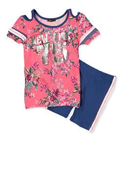 Girls 7-16 Floral Cold Shoulder Top and Bike Shorts - 1617038340032