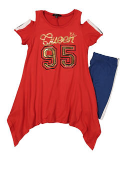 Girls 7-16 Queen 95 Cold Shoulder Top with Bike Shorts - 1617038340033