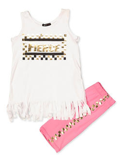 Girls 7-16 Fierce Fringe Tank Top and Shorts Set - 1617038340034