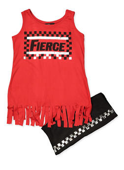 Girls 7-16 Fierce Fringe Tank Top and Shorts Set - 1617038340034