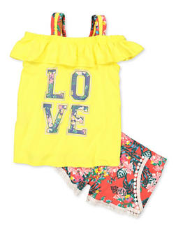 Girls 7-16 Floral Love Cold Shoulder Top and Shorts - 1617038340035