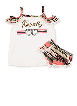 Girls 5-16 Royalty Cold Shoulder Top and Shorts - 1617038340036