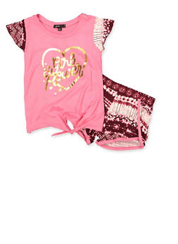 Girls 7-16 Girl Power Tie Front Top and Shorts - 1617038340038