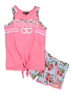 d616600245115d Girls 7-16 Trouble Tie Front Tank Top and Shorts - 1617038340039