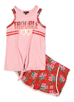 Girls 7-16 Trouble Tie Front Tank Top and Shorts - 1617038340039