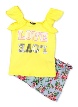 Girls 7-16 Love Graphic Top and Floral Shorts Set - 1617038340041