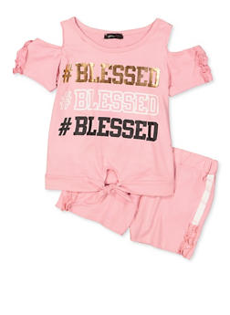 Girls 7-16 Blessed Cold Shoulder Top with Shorts - 1617038340043