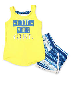 Girls 7-16 Good Vibes Tank Top and Shorts - 1617038340045
