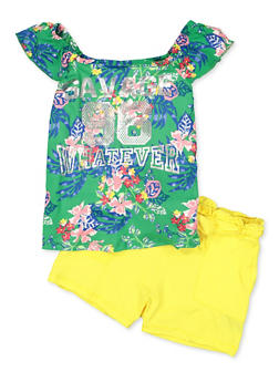 Girls 7-16 Foil Graphic Top and Shorts Set - 1617038340047