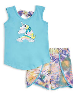 Girls Reversible Sequin Unicorn Tank Top and Shorts - 1617038340116
