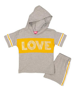 Girls 7-16 Love Hooded Top with Shorts - 1617048370005