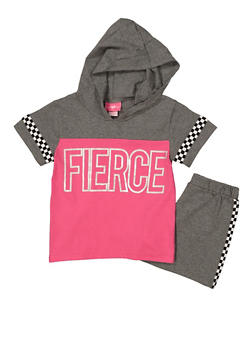 Girls 7-16 Fierce Hooded Top with Shorts - 1617048370006