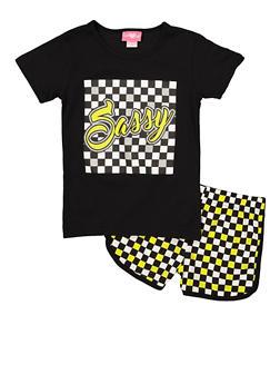 Girls 7-16 Sassy Glitter Graphic Tee and Shorts   1617048370007 - 1617048370007