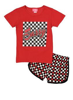 Girls 7-16 Sassy Graphic Tee and Shorts Set - 1617048370008