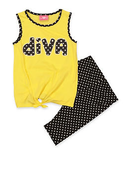 7744810bf250 Girls 7-16 Diva Tank Top and Shorts