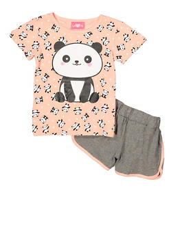 Girls 7-16 Panda Graphic Tee with Dolphin Shorts - 1617048370020