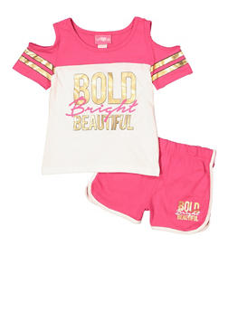 Girls 7-16 Bold Bright Beautiful Tee with Dolphin Shorts - 1617048370021