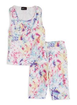 Girls Tie Dye Tank Top and Biker Shorts Set - 1617051060003