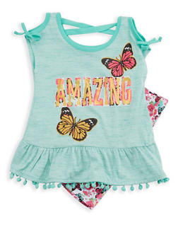Girls 7-16 Graphic Cold Shoulder Top with Printed Shorts Set - 1617054730011