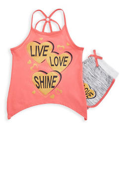 Girls 5-16 Graphic Tank Top with Shorts Set - 1617054730015