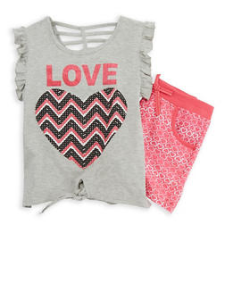 Girls 7-16 Glitter Graphic Top with Printed Shorts - 1617054730016