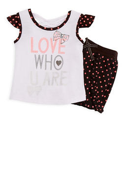 Girls 7-16 Glitter Graphic Top with Polka Dot Shorts - 1617054730019