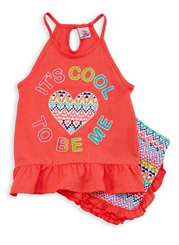 Girls 7-16 Graphic Tank Top with Printed Shorts - 1617054730022