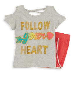 Girls 7-16 Glitter Graphic Top with Shorts - 1617054730023