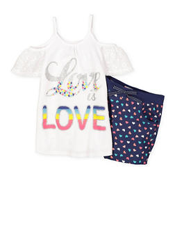 Girls 7-16 Cold Shoulder Top with Printed Shorts Set - 1617054730024