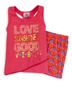 Girls 7-16 Printed Tank Top and Shorts Set - 1617054730027