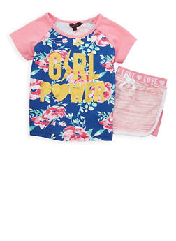 Girls 7-16 Girl Power Graphic Top with Shorts - 1617054730031