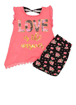 Girls 7-16 Graphic Top with Soft Knit Shorts - 1617054730033