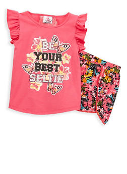 Girls 7-16 Glitter Graphic Top with Shorts - 1617054730034