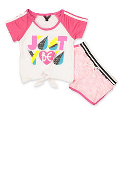 Girls 7-16 Just Be You Top and Shorts Set - 1617054730081