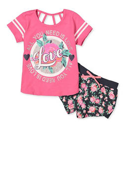 Girls 7-16 All You Need is Love Tee with Floral Shorts - 1617054730100