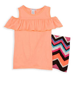 Girls 7-16 Cold Shoulder Top with Chevron Shorts - 1617061950082